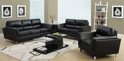 home decor sofa set black bonded leather match living room set from monarch