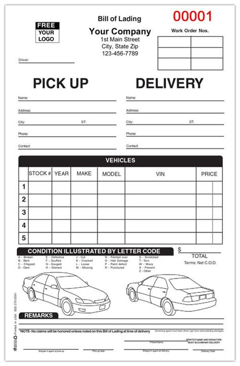 Small Vehicle Transport Bill Of Lading Auto Transport Bill Of Lading Template Free