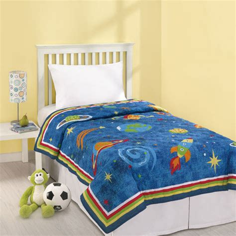 rocket ship bedding blue outer space twin quilt stars planets dreams rocket