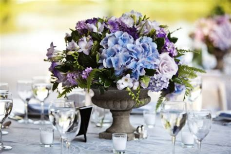 Blue Hydrangea Wedding Flowers Blue And Purple Centerpieces For Weddings