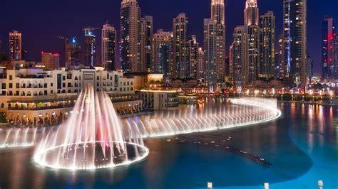 Burj Khalifa by Dubai Fountains Fountain On The Burj Khalifa Lake