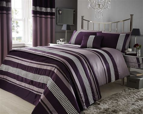 Super King Plum Purple Metallic Effect Detail Quilt Duvet Ebay Bed