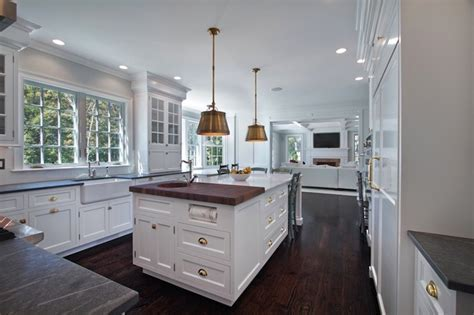 Island with 2 Countertops   Transitional   kitchen   Blue