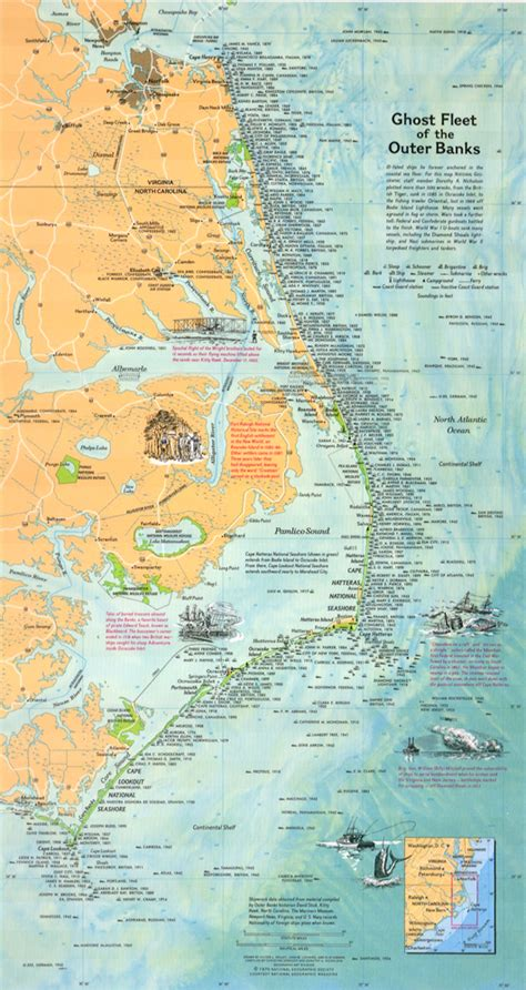 obx map outer banks shipwreck map overview