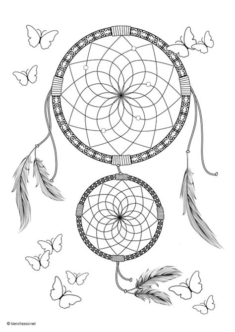 Coloriage dreamcatcher, dessin anti-stress gratuit pour adulte