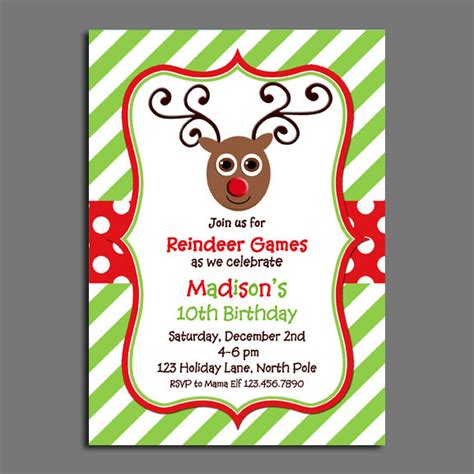 printable reindeer games reindeer invitation printable or printed with free shipping