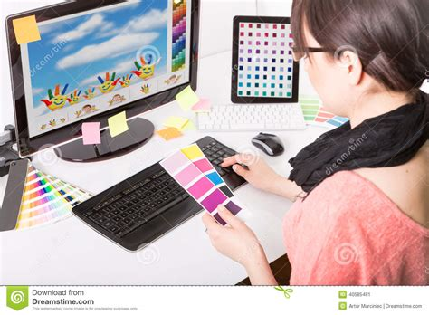 graphic design works at home graphic designer at work color sles stock