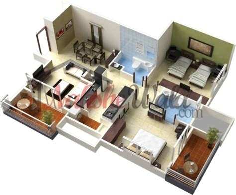 Simple Open Floor Plan Homes by 3d Floor Plans 3d House Design 3d House Plan Customized