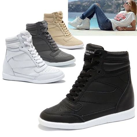womens high top sneakers part 1 womens trendy high top wedge sneakers trainers lady casual