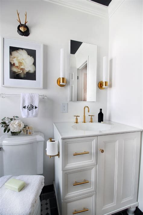 Bathroom Storage Features Hunted Interior Black White White And Gold Bathroom Ideas