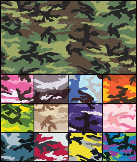 woodland camouflage seamless pattern set  tradigitalart