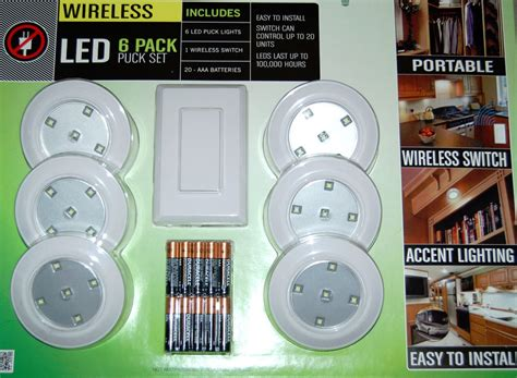 duracell 5 led puck lights lightmates 6 pack led puck light set w remote wall switch