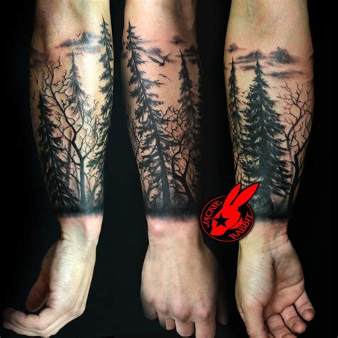 tree sleeve tattoo forest silhouette tree silhouette forest pine arm