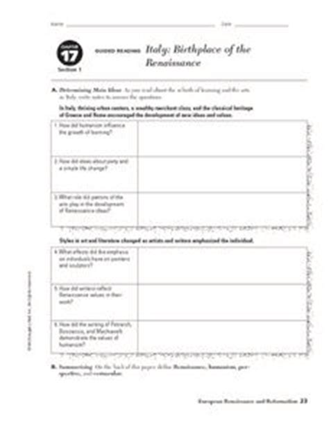 The Renaissance Worksheet Answers by Italy Birthplace Of The Renaissance 9th 10th Grade