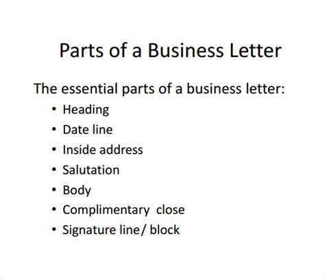 parts of a business letter 8 free documents in pdf ppt
