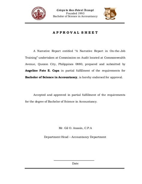 application letter for ojt in computer science dental narrative report in ojt