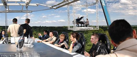 dinner in the sky bathroom dining in the sky experience that suspends guests 160ft
