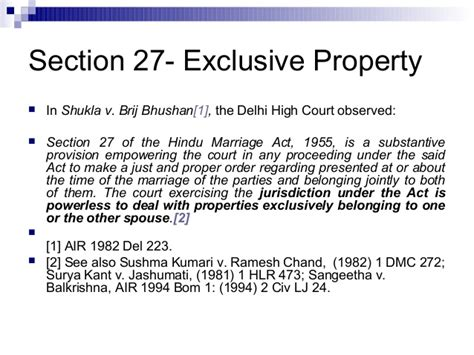 section 27 of hindu marriage act division of property on divorce in india