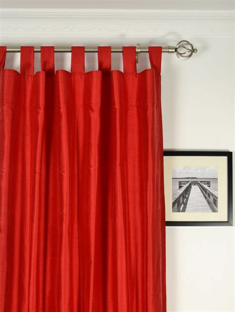 Living Room Tab Top Curtains With Red Curtain And White