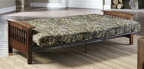 camouflage futon dhp furniture realtree max 5 174 wood arm futon with 6 inch