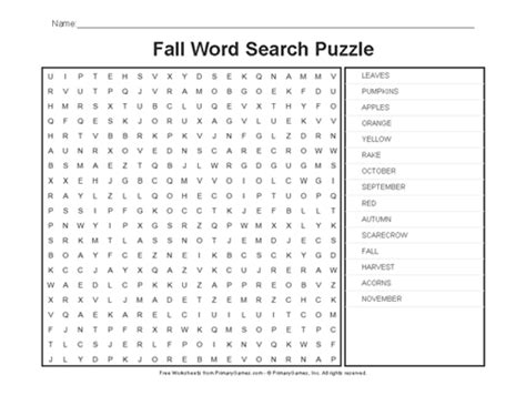 printable word search autumn fall worksheets fall word search puzzle primarygames