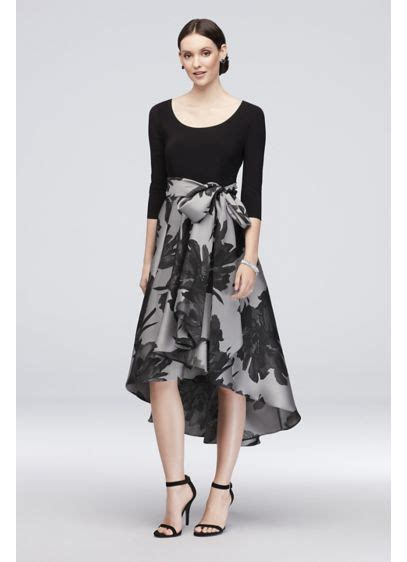 3 4 Sleeve Printed A Line Dress printed high low 3 4 sleeve a line dress with sash david