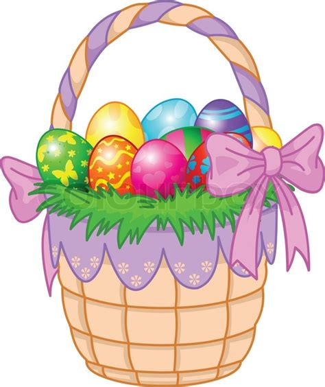 beautiful easter baskets beautiful easter basket with colorful eggs stock vector colourbox