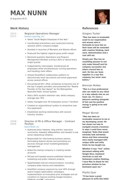 Regional Manager Curriculum Vitae by Directeur Des Op 233 Rations R 233 Gionales Exemple De Cv Base