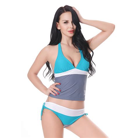 Grey Halter Set Topskirt Size S blue gray split joint halter tankinis swimsuit bk13061