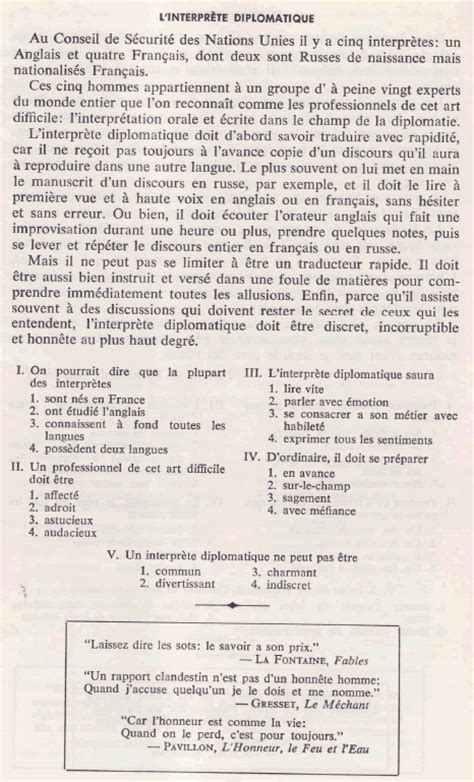 reading comprehension test in french reading comprehension in s french l interpr 232 te