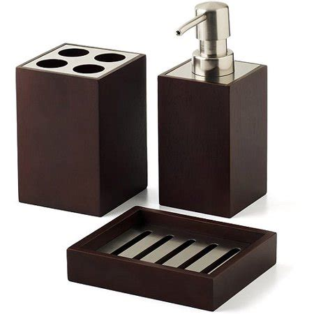 hometrends mabry 3 bath accessories set brown