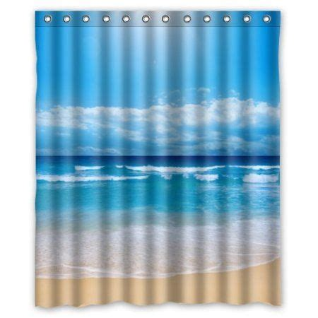the ring bathroom scene 60 quot w x 72 quot h tropical paradise beach scene with the sea pattern 100 polyester