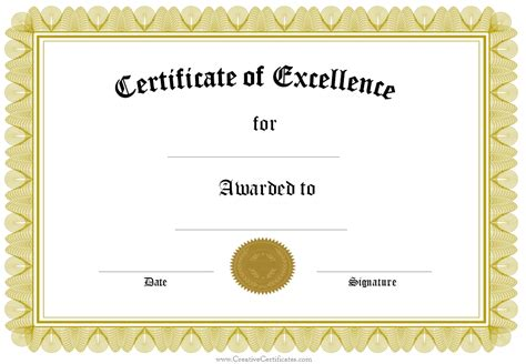 free printable certificate of excellence template print certificate of excellence template