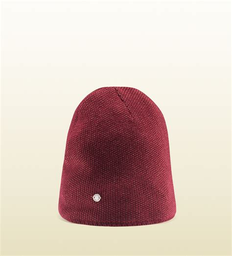 wool knit hat gucci wool knit hat in for bordeaux lyst