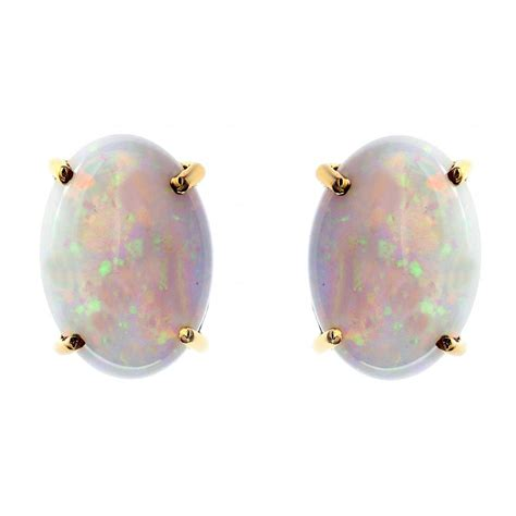 vintage deco oval gemstone opal stud earrings 925 silver 14ct yellow gold 7 01ct oval opal stud earrings