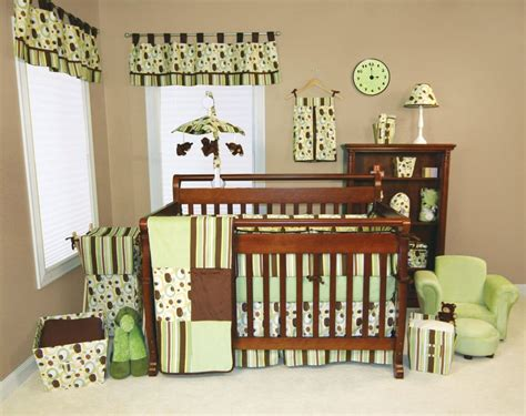brown crib bedding green brown dot stripe baby boy girl 5 pc nursery crib