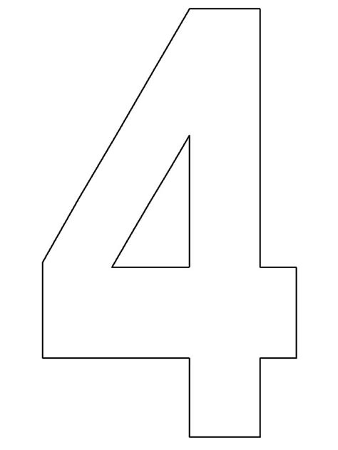 best photos of number 4 template printable number
