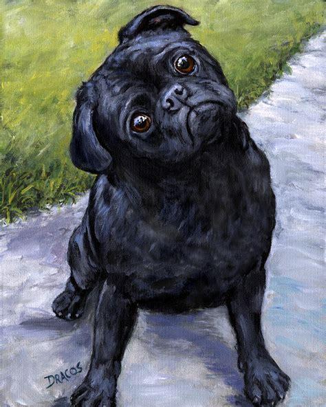 pugs in paintings black pug in park painting by dottie dracos