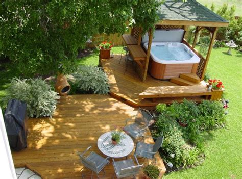 backyard deck designs with hot tub deck and hot tub designs pool design ideas