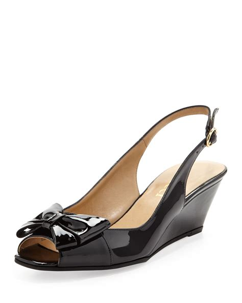 sesto meucci fran patent bow slingback wedge in black lyst