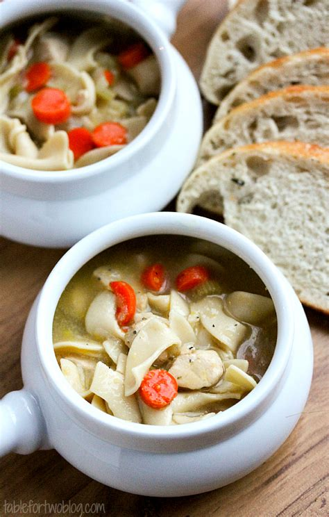 comforting chicken noodle soup chicken noodle soup table for two