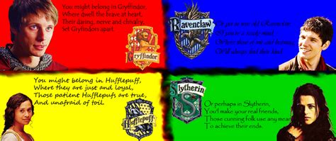 4 houses of hogwarts merlin characters in hogwarts houses by marleysnowtiger on