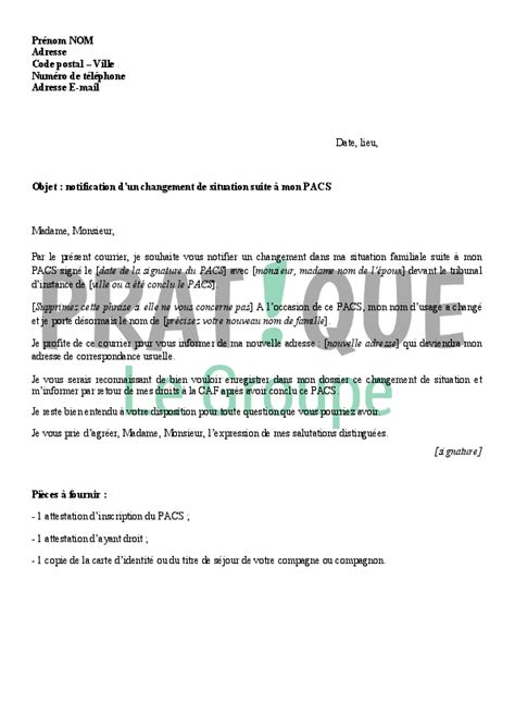 Modèles De Lettre Pacs Lettre 224 La Caf Notification D Un Pacs Pratique Fr