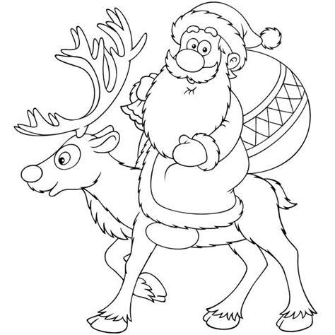 imagenes navideñas para colorear de papa noel dibujo de pap 225 noel en su reno para colorear
