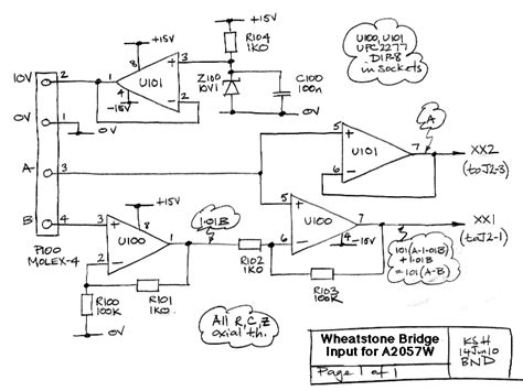 wheatstone bridge with differential lifier input output a2057