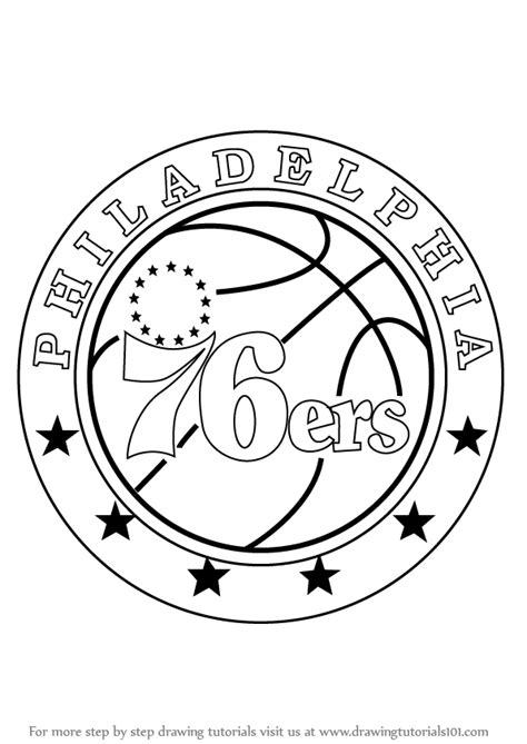 learn how to draw philadelphia 76ers logo nba step by