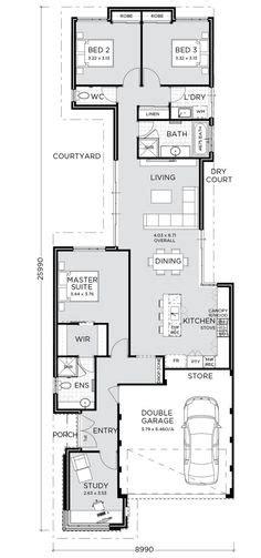 images  narrow block plans  pinterest case study design floor plans  floor plans