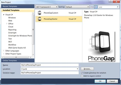 phonegap project template how to create html5 apps on windows phone with phonegap