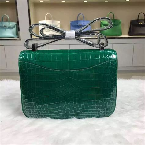 Herms Skin Mini Sling Bag wholesale hermes crocodile leather emerald green constance bag24cm cross bag hermes