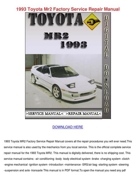 service repair manual free download 1997 toyota t100 xtra user handbook 1993 toyota mr2 factory service repair manual by sebastianpinson issuu